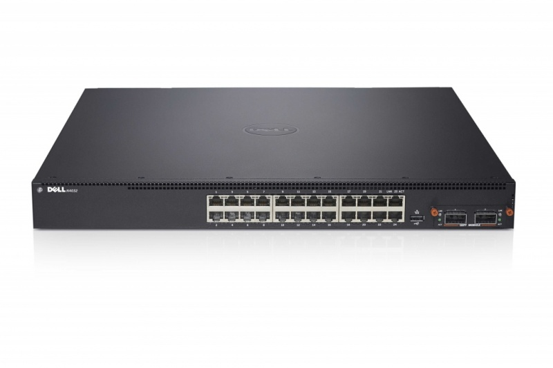 Dell Networking N4032F, 10Gbe SFP+ and Stacking capable, Hot Swap Modular Bay, 2xPower Supplies, 3Y PNBD (210-ABVT)